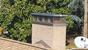 Multi-flue stainless steel chimney rain cap installed on top of a chimney. Covers 3 flues.