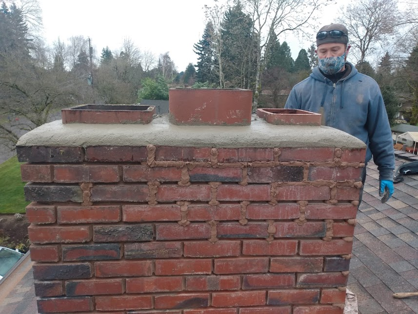 Flue tiles on top of a chimney