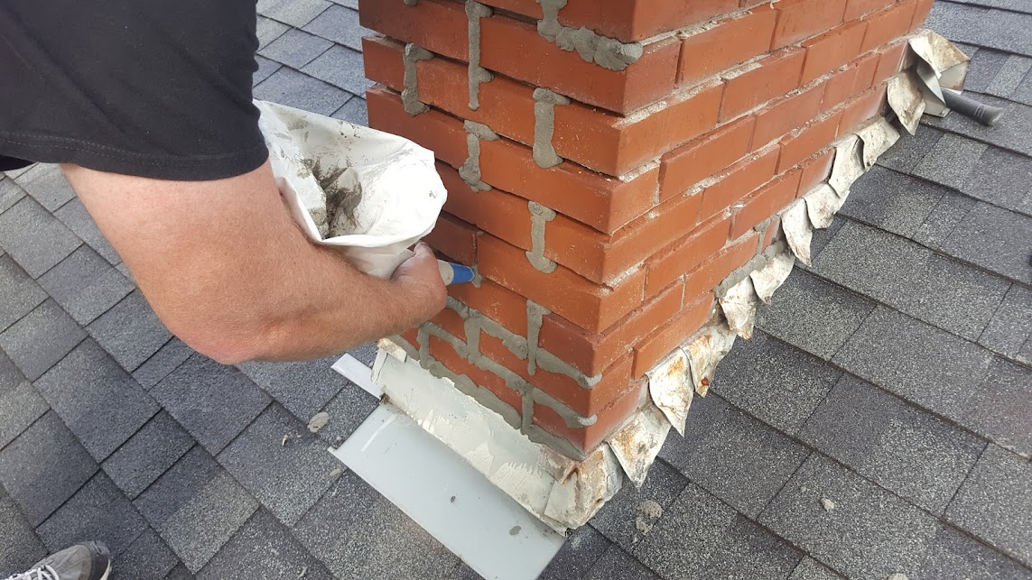 Tuckpointing a chimney