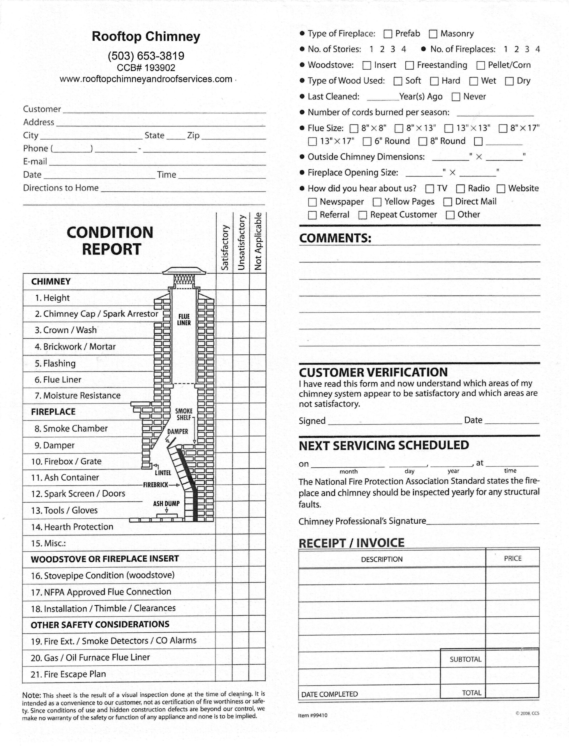 A Chimney Condition Report form